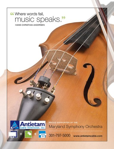 Simple ad design for the Maryland Symphony Orchestra program on behalf of their sponsor, Antietam Cable, as part of the team at Icon Graphics.